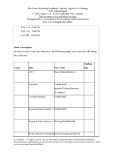 Event Marketing Plan Template Sample